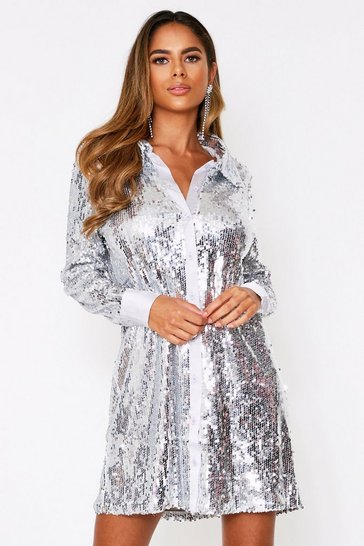 Silver Full Sequin Satin Trim Oversize Shirt Dress