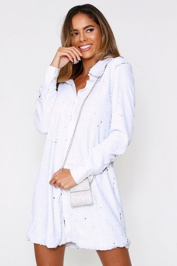 White Full Sequin Satin Trim Oversize Shirt Dress