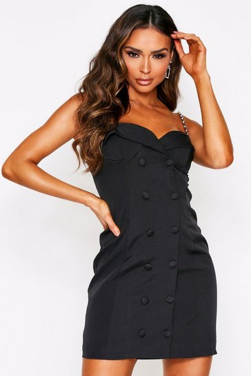 Womens Black Chain Strap Cupped Belted Mini Blazer Dress