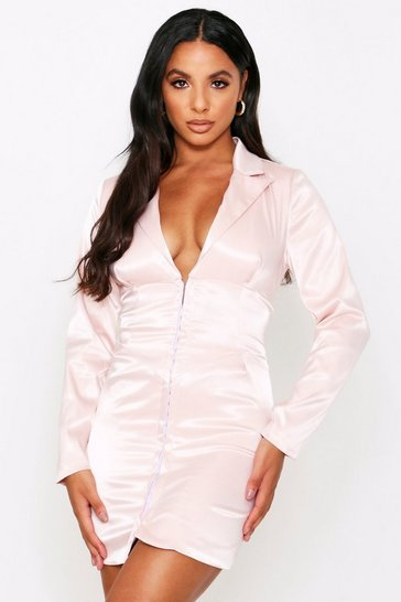 Pink Satin Corset Detail Blazer Dress