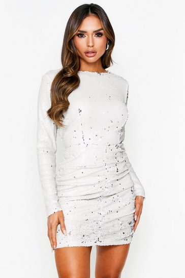 Stone Sequin Cowl Back Mini Dress
