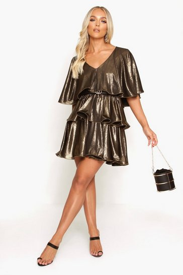 Womens Gold Plunge Tiered Metallic Skater Dress