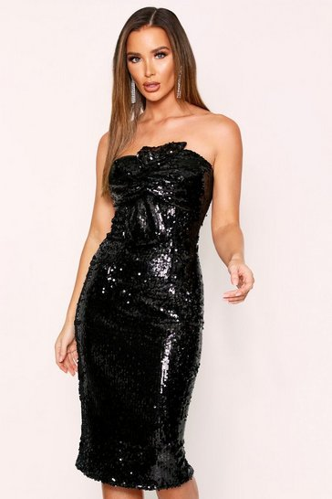 Womens Black Sequin Bow Midi Dress