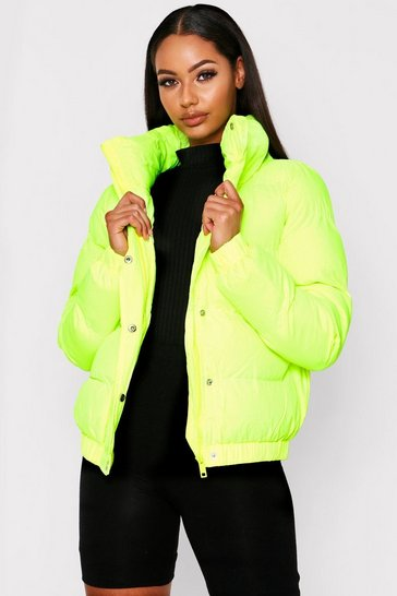 Yellow High Neck Puff Coat