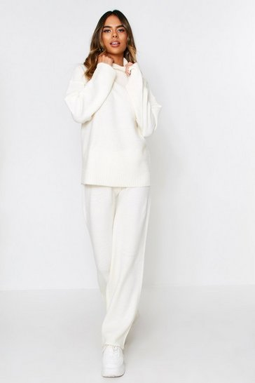 Womens Ivory knitted roll neck co ord