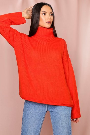 Orange Roll neck drop shoulder jumper