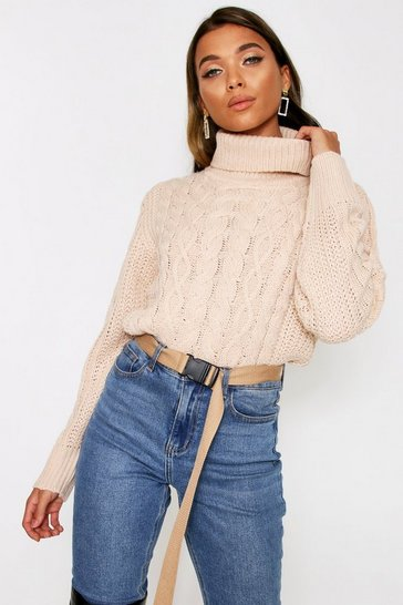Beige Cropped roll neck cable jumper