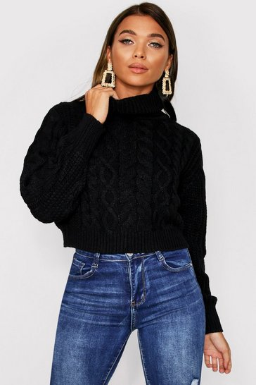 Womens Black Cropped roll neck cable jumper