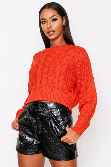 Womens Orange Crew neck cable knit jumper