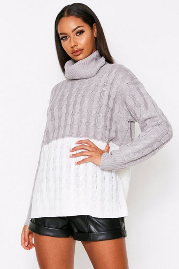 Womens Grey Block cable knit jumper