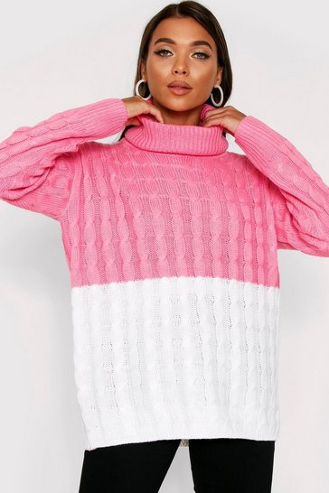 Womens Pink Block cable knit jumper