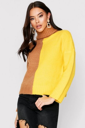 Yellow Roll neck colour block jumper