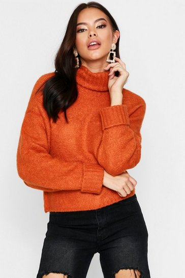 Womens Rust Roll Neck Jumper