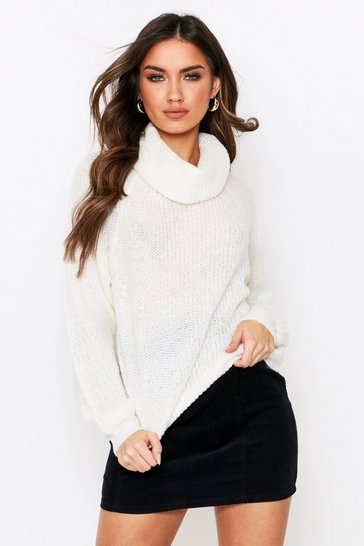 Ivory Cowl Neck Ribbed Jumper