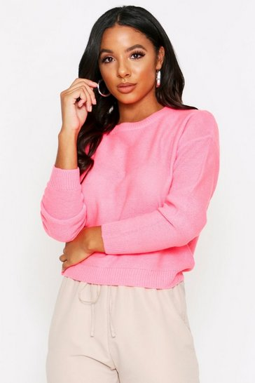 Womens Neon-pink Scoop Neck Knitted Jumper