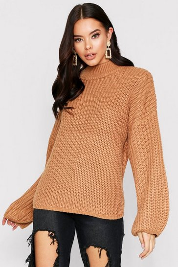 Womens Camel Over Size Bell Sleeve Jumper