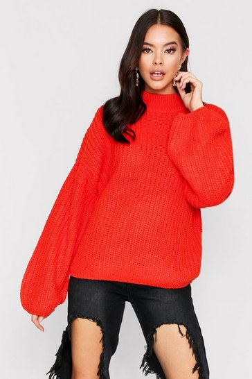 Womens Orange Over Size Bell Sleeve Jumper