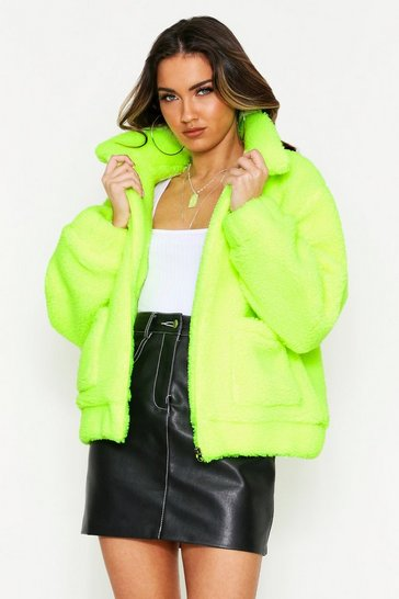 Womens Neon-yellow Zip Front Borg Jacket