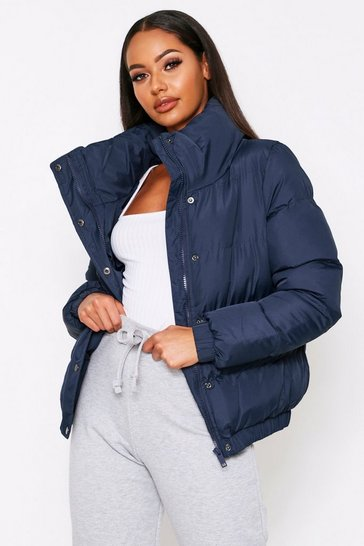 Womens Navy High Neck Puff Coat