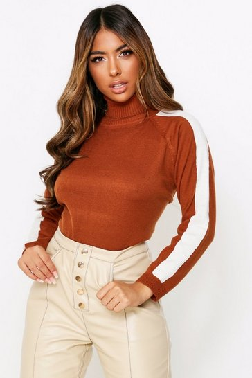 Nutmeg Roll Neck Block Sleeve Jumper