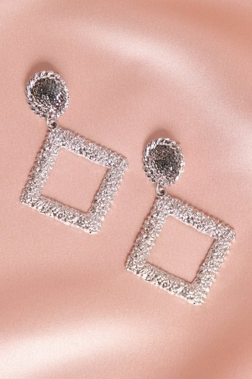 Silver Textured Diamond Statement Earrings