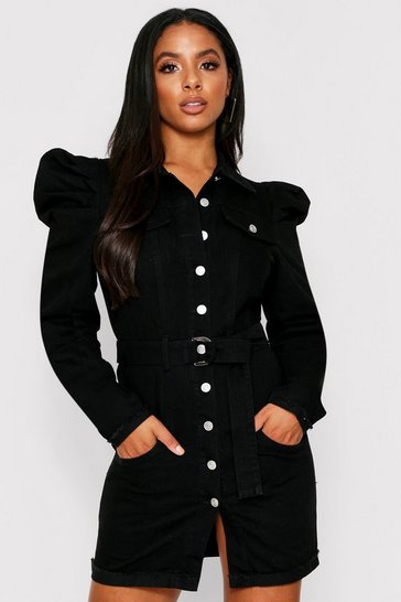 Womens Black Puff Shoulder Denim Belted Dress