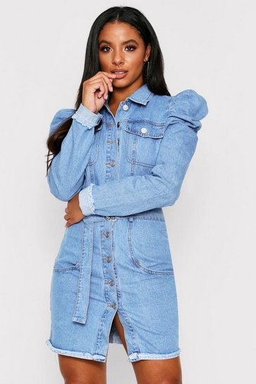 Puff Shoulder Denim Belted Dress