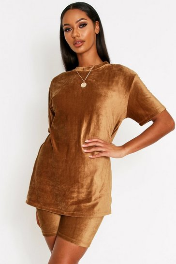 Womens Camel Velour Oversized T-Shirt Set