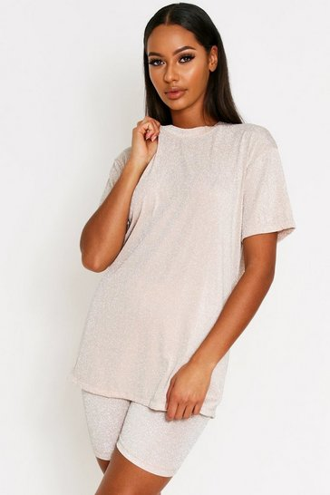 Womens Gold Glitter Oversized T-Shirt Co-Ord