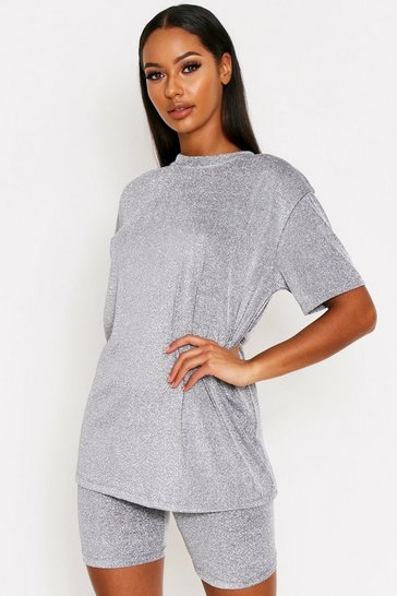 Womens Silver Glitter Oversized T-Shirt Co-Ord