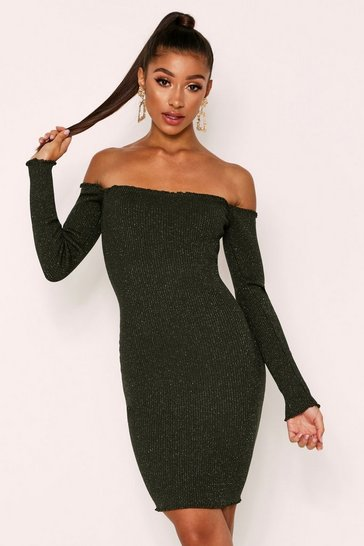 Khaki Mini Knitted Off The Shoulder Dress