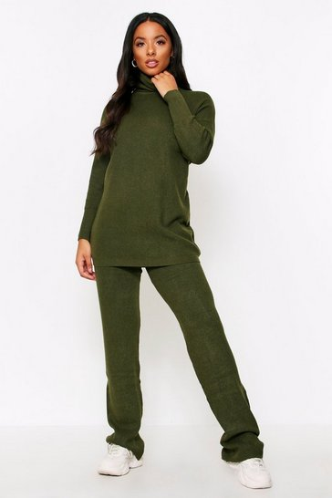Womens Khaki Oversized Roll Neck Lounge Set