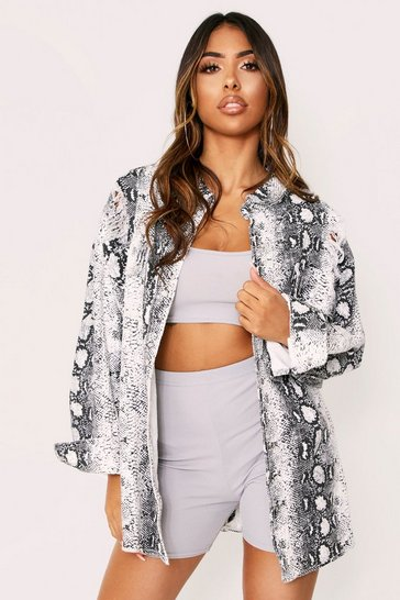 Womens Animal Snake Print Oversized Jacket