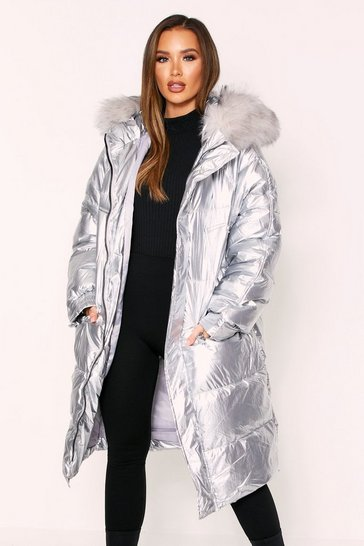 Womens Silver Maxi Puffer Jacket With Fur Hood