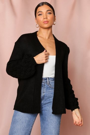 Womens Black Bubble Sleeve Cardigan