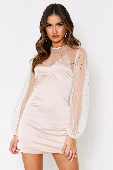 Womens Taupe Mesh sleeve satin mini dress