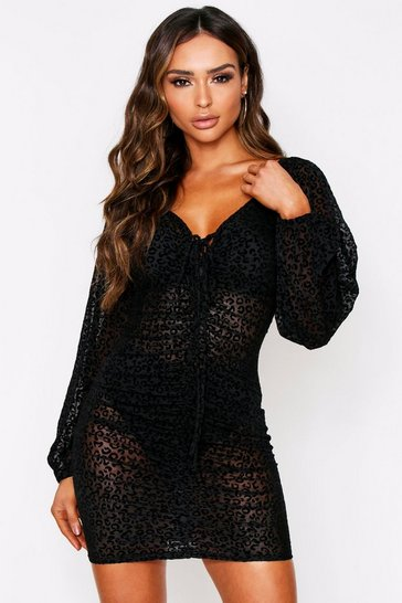 Womens Black Leopard Print Mesh Ruched Dress