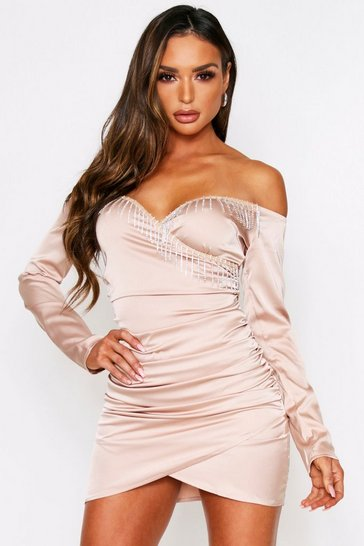 Taupe Satin ruched diamante tassel dress