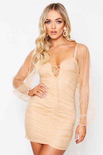 Womens Nude Glitter mesh balloon sleeve ruched dress
