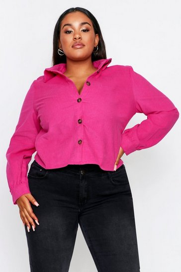Womens Fuchsia Cord Balloon Sleeve Shirt