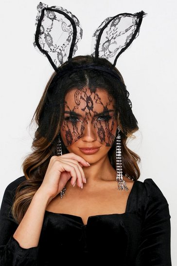Womens Black Lace cat mask hairband