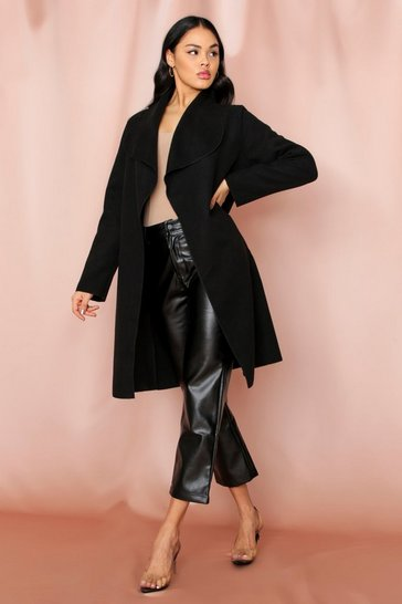 Black Shawl Collar Belted Coat