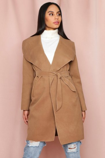 Camel Shawl Collar Belted Coat