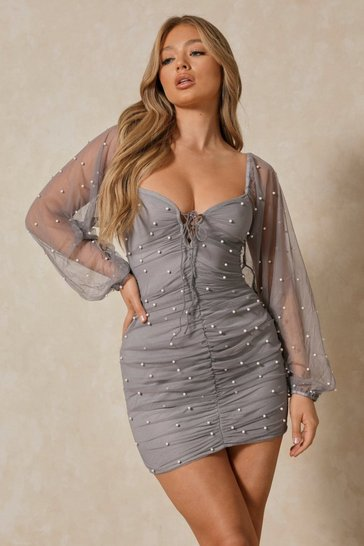 Womens Blue Pearl Embellished Mesh Balloon Sleeve Dress