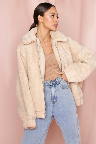Womens Stone Oversized Teddy Faux Fur Bomber Jacket