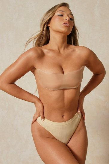 Womens Nude Silicone Backless Bandeau Bra Large (C-D)
