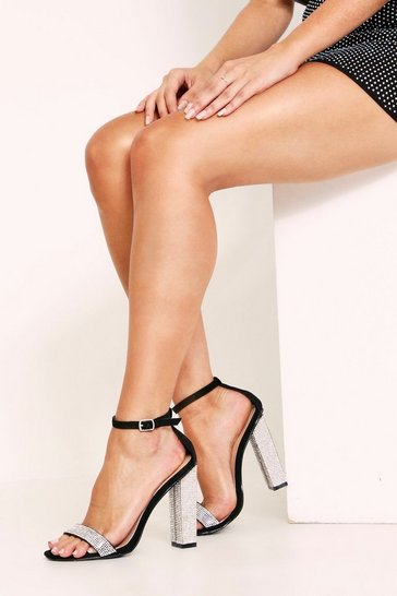 Womens Black Diamontie Heels