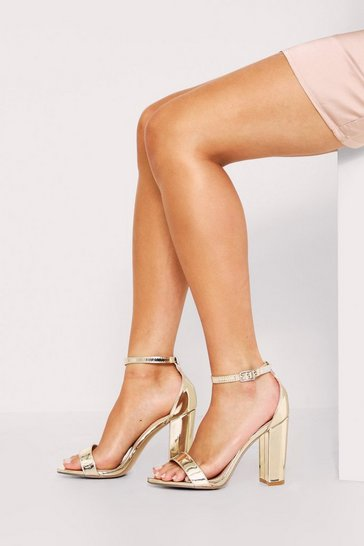 Womens Gold  Metallic Block Heel