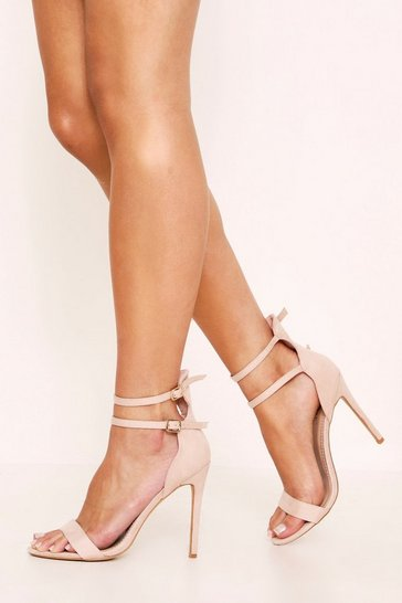 Womens Nude Double Strap Barley There Heels