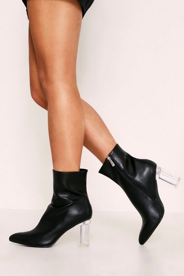 Womens Black Clear Heel Ankle Boot